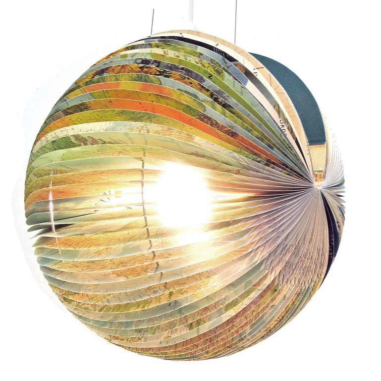Upcycled lamp made from a Readers Digest atlas